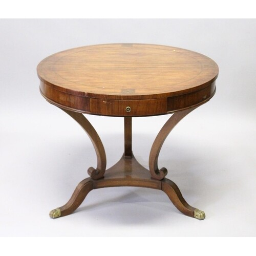 A FRENCH DESIGN ROSEWOOD AND BRASS INLAID CIRCULAR TABLE, th...