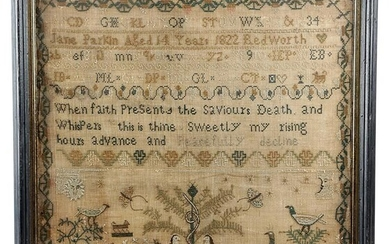 A GEORGE IV NEEDLEWORK SAMPLER BY JANE PARKIN worked with coloured wools on a coarse...