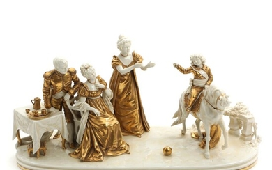 NOT SOLD. A German Scheibe Alsbach porcelain figure in shape of Napoleon Bornaparte and family. 20th century. L. 52 cm. – Bruun Rasmussen Auctioneers of Fine Art