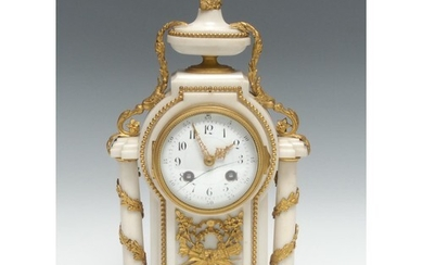 A Louis XVI style ormolu and white marble mantle clock, 9cm ...