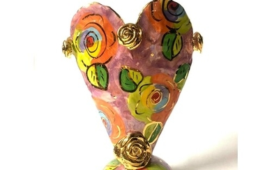 A Mary Rose Young studio pottery vase of heart form raised o...