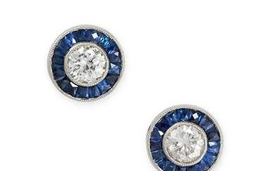 A PAIR OF SAPPHIRE AND DIAMOND TARGET STUD EARRINGS