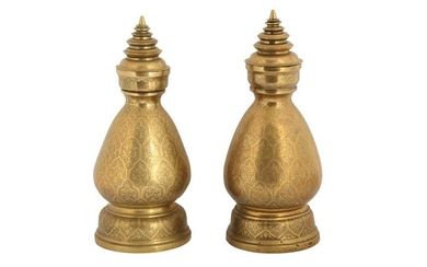 A PAIR OF THAI ENGRAVED CEREMONIAL BRASS VASES Thailand, South East Asia, 19th century