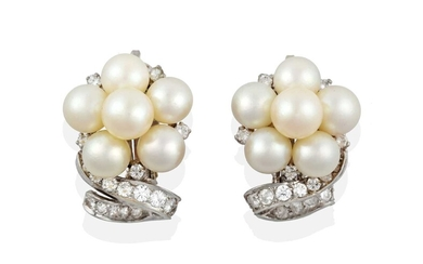 A Pair of Diamond and Cultured Pearl Earrings, a...