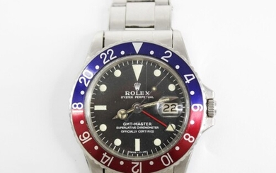 A Rolex Oyster Perpetual Date GMT Master stainless steel chr...