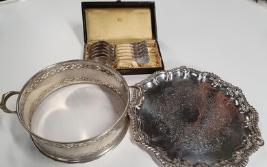 A Silver Plated Ring, Newbridge Silver Spoons and a Silver P...
