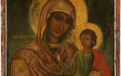 A VERY LARGE ICON SHOWING THE HODIGITRIA MOTHER OF GOD...