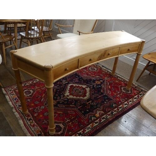 A contemporary beech and fruitwood Desk by Nigel Brown, circ...