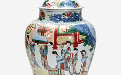 A large Chinese wucai-decorated porcelain jar and cover 五彩带盖大罐 17th century 十七世纪