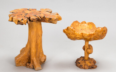 A mid-20th century burr wood table and bowl.
