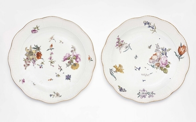 A pair of Meissen porcelain dishes from a dinner service with naturalistic flowers