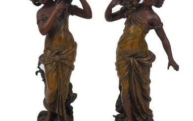 A pair of cold-painted figures, after Moreau, 20th century, spelter on wood plinths, each figure moulded as a woman, one carrying a basket of flowers, the other a water carafe, moulded 'L&F Moreau' to base of figures, with additional plaquettes to...