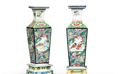 A pair of square-section famille-rose vases China, Qing Dynasty, Yongzheng period