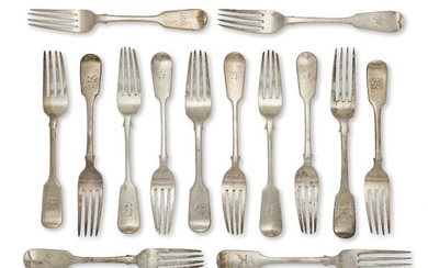 A set of six Victorian silver table forks, Exeter, c.1875, Josiah Williams & Co (one London, c.1843, Samuel Hayne & Dudley Cater, all of fiddle pattern with engraved initial to terminal , together with a set of three Irish silver table forks...