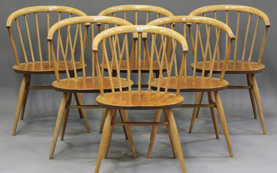 A set of six mid-20th century Ercol 'cowhorn' elbow chairs designed by Lucien Ercolani, mo
