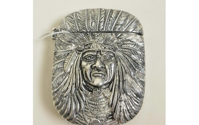 A silver plated vesta case in the form of a Native American ...