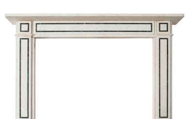 A white marble and verde antico banded fireplace:, the recta...