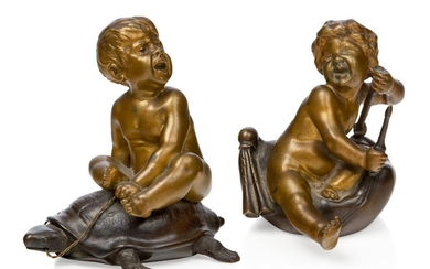 Antoine Bofill (Spanish 1875 - date died unknown, but some time after 1925), a patinated bronze, c.1900, signed Bofill, Modelled and cast as a putti riding on the back of a turtle; together with another unsigned bronze of a putti sitting on a...