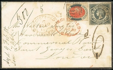 Australasia New South Wales Registered Stamps 1858 (10 Feb.) a neat mourning envelope to London