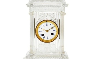 BACCARAT FROSTED AND PRESSED GLASS MANTEL CLOCK LATE 19TH/ E...