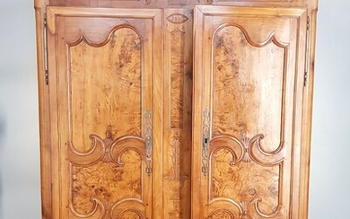 Bresse walnut and walnut burl cupboard with two moulded doors,...
