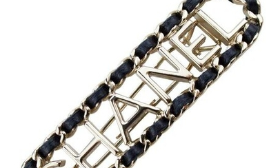 Chanel Silver Metal and Black Leather Hair Barrette
