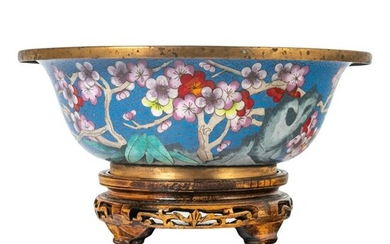 Chinese Cloisonne Centerpiece Bowl & Wooden Stand