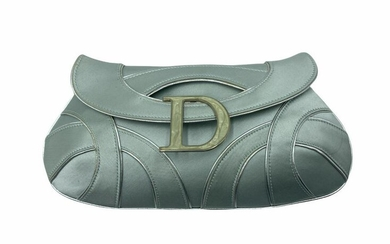 Christian Dior Satin and Silver Piping Evening Bag with