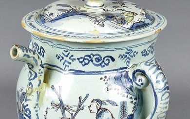 Delft blue and white posset pot and cover, 18th c.