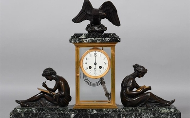 EMPIRE STYLE MARBLE AND BRONZE FIGURAL MANTEL CLOCK, CIRCA 1870