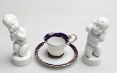 FIGURES 2 and CUP with saucer, orslin, including Bing and Gröndahl, 20th century.