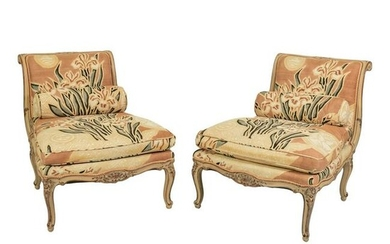 French Style Pink Floral Upholstered Wooden Chairs