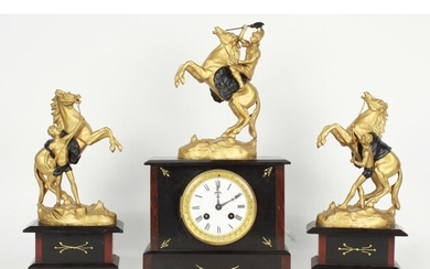 French black slate and red marble two train mantel clock gar...