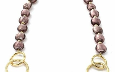 Gold Filled Amethyst Tn Glass Beaded Necklace