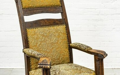 JACOBEAN STYLE CARVED WOOD OPEN ARMCHAIR