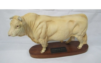 """LARGE BESWICK """"CHAROLAIS BULL"""" ON PLAQUE 13"""" X 8"""" IN EXCEL..."""
