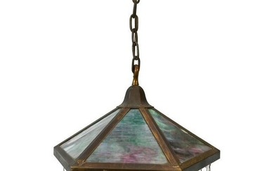 Mission Style Brass and Slag Glass Hanging Lamp.