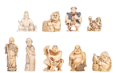 Nine various Japanese and Chinese 19th and early 20thC ivory netsuke and okimono, H 3 - 4 (x2) - 4,2 - 4,8 - 5 (x2) - 6,6 - 6,7 cm / weight c. 2 - 44 - 54 - 17 - 21 - 34 - 38 - 20 - 18 g.