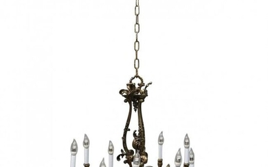 Oversized French Rococo Style Figural Bronze Chandelier