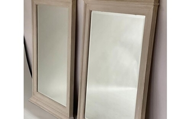 PIER MIRRORS, a pair, Regency style grey painted each with c...