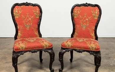 PR., 18TH C. GEORGE II CHIPPENDALE SIDE CHAIRS