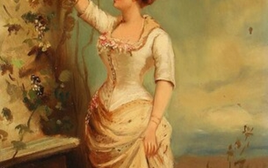 NOT SOLD. Painter unknown, 19th century: A woman picking grapes. Indistinctly signed. Oil on board. 31.5 x 18 cm. – Bruun Rasmussen Auctioneers of Fine Art
