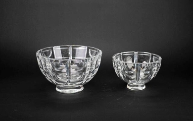 Pair Orrefors Cut Crystal Footed Centerpiece Bowls