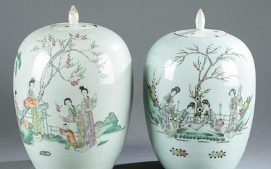 Pair of Chinese Famille-Rose porcelain melon jars