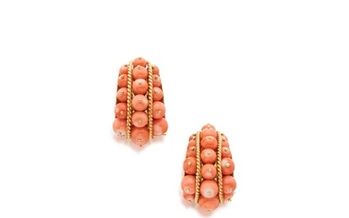 Pair of Coral and Gold Earclips, Tony Duquette