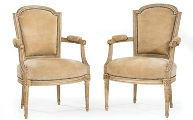 Pair of Louis XVI-Style Painted Fauteuils
