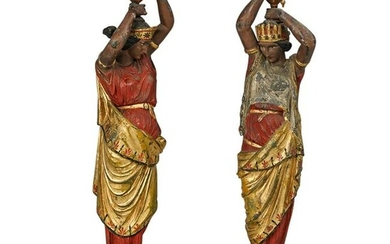 Pair of Mixed Metal Figural Greco Roman Candle Holders