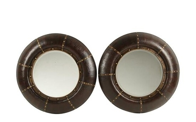 Pair of Portuguese Style Embossed Leather Round