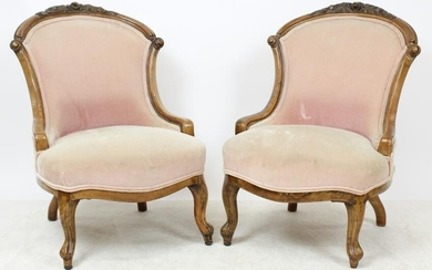 Pair of Victorian Rosewood Slipper Chairs