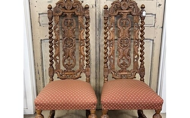 Pair of antique carved oak high back dining chairs (2)